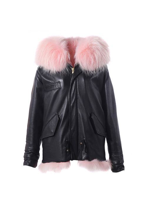 BABY PINK FOX SHORT PARKA