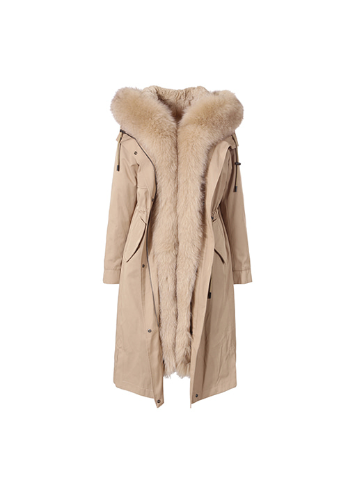 BEIGE LONG FUR PARKA