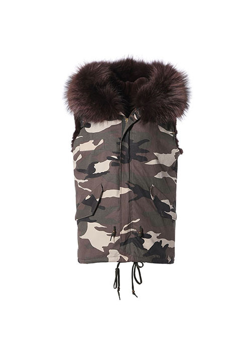 BROWN REX VEST PARKA