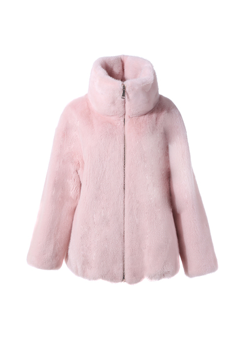 BABY PINK MINK HIGH NECK BOMBER JACKET