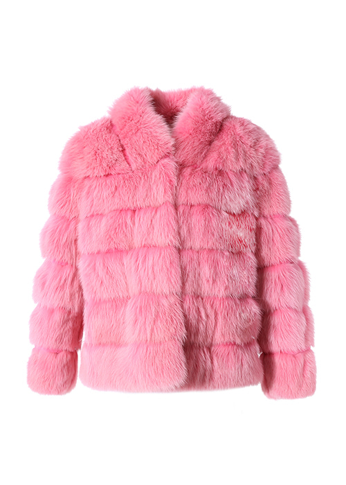 PINK SHAWL COLLAR SHORT SABLE FUR COAT