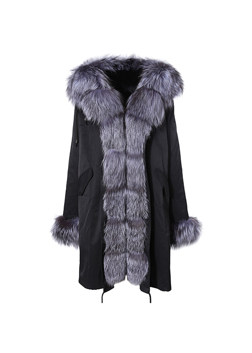 SILVER FOX POMPOM LONG PARKA