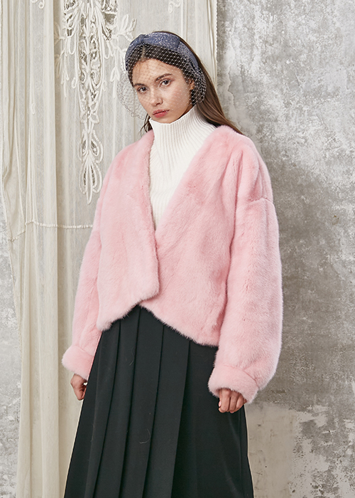 MINK PUFF SLEEVE V-NECK JACKET