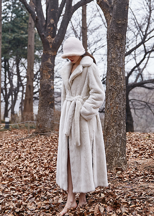 MINK DOUBLE COLLAR MAXI-LONG COAT