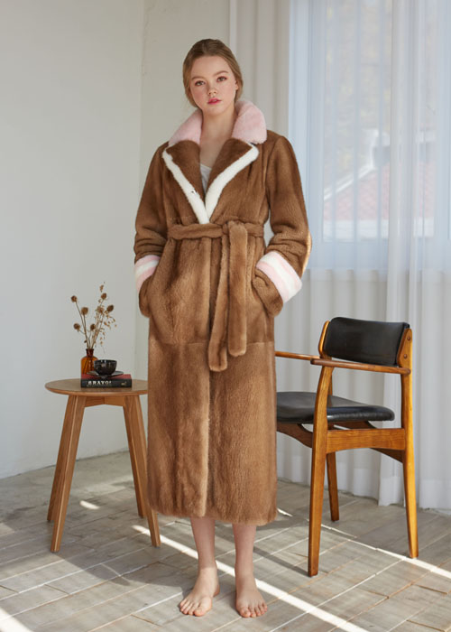 MINK DOUBLE COLLAR MAXI COAT