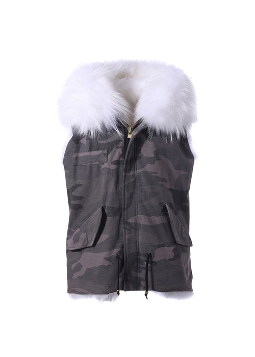 WHITE FOX VEST PARKA