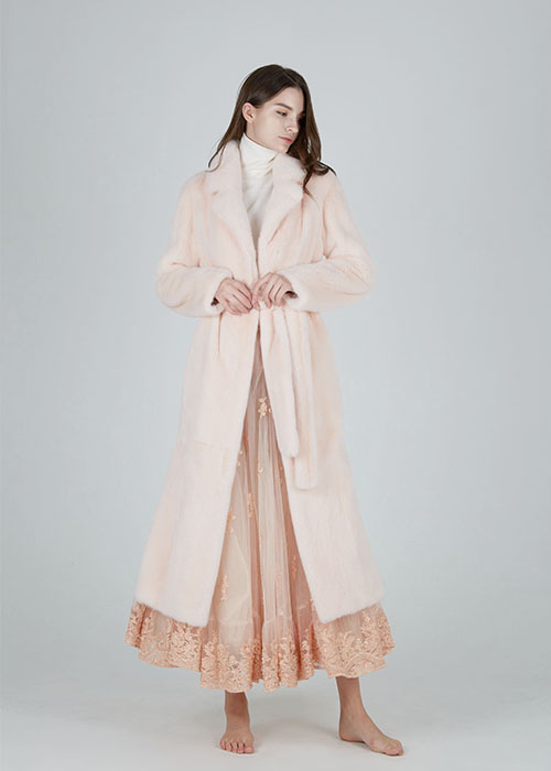 ANGEL PINK MINK DOUBLE COLLAR MAXI-LONG COAT