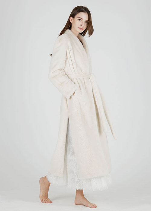 MINK SHAWL COLLAR MAXI COAT