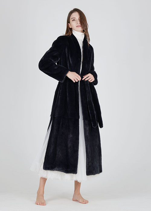 NAVY MINK SHAWOL COLLAR MAXI COAT