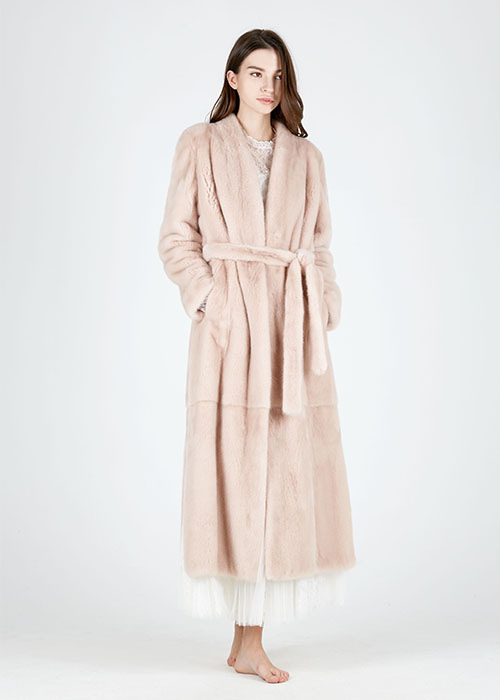 SMOKY PINK SHAWL COLLAR MAXI MINK COAT