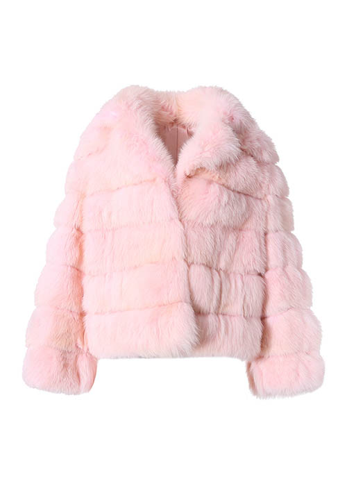 PURE PINK DOUBLE COLLAR SHORT SABLE FUR COAT