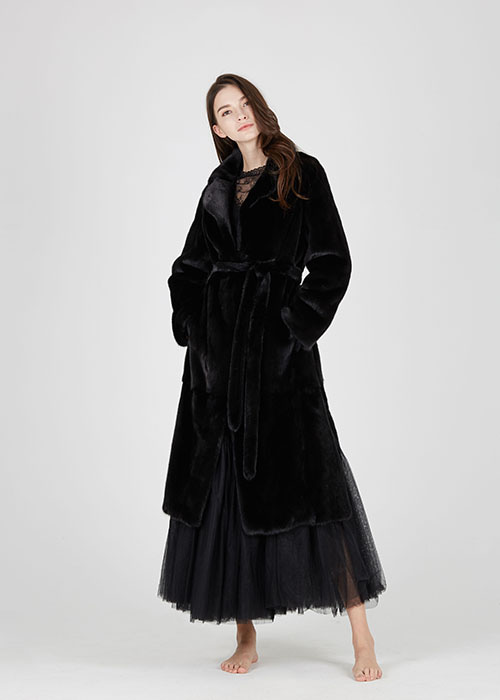 BLACK MINK DOUBLE COLLAR MAXI COAT