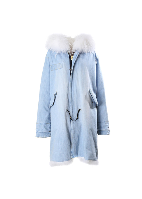 WHITE FOX LONG PARKA