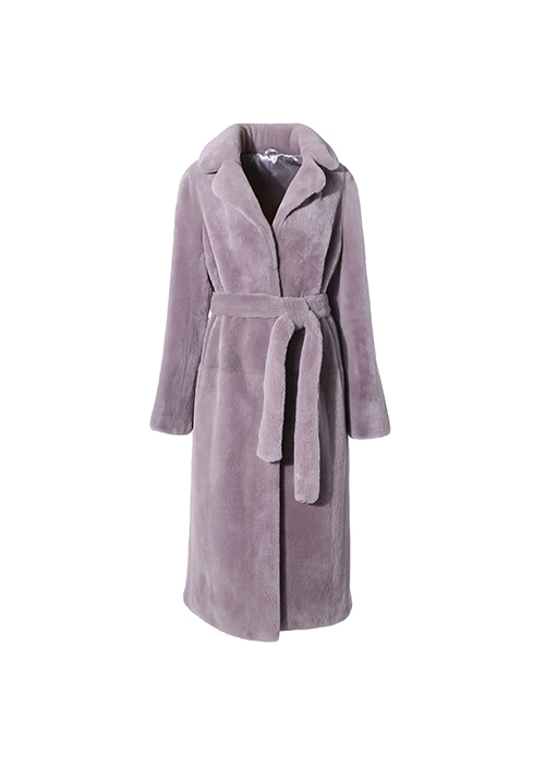 PURPLE GREY VELVET DOUBLE COLLAR MINK COAT
