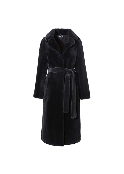 DARK GREY VELVET DOUBLE COLLAR MINK COAT