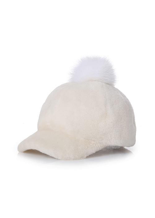 LAMB POMPOM HAT CREAM