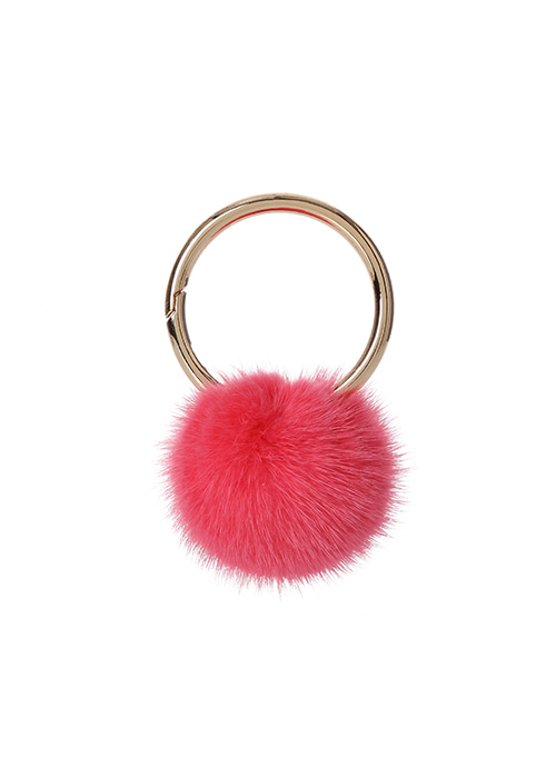 MINK POMPOM KEY-RING