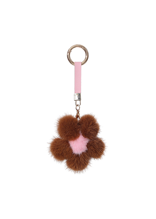 MINK FLOWER KEYRINGBROWN